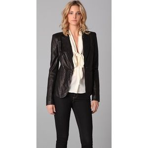 Rachel Zoe Sullivan Croc-Embossed Leather Jacket